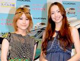 スバルの新型軽乗用車『ルクラ』の新CM発表会に出席した(左から)IMALU、豊田エリー
