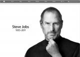 スティーブ・ジョブズ氏の死去を伝えるアップル社のWebサイトトップページ