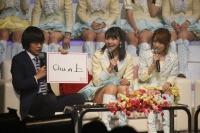 『AKB48 ユニット祭り 2014』MCの模様<br>(左から)バカリズム、小嶋真子、高橋みなみ
