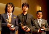 左から石田衣良氏、仲村、山本博選手