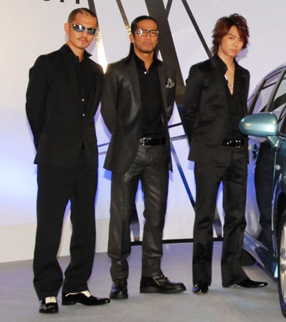 『EXILE×WISHプロジェクト』発表会に出席したEXILEの(左から)ATSUSHI、HIRO、TAKAHIRO