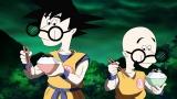 『桃屋』新CMでのり平に変身した孫悟空(左)とクリリン