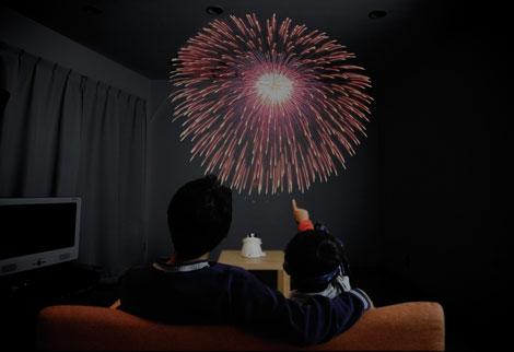 家庭用打ち上げ花火玩具『家(うち)あげ花火』の使用イメージ