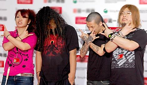マキシマム ザ ホルモンのボーカル・マキシマムザ亮君(左から2番目)が新型インフル感染で夏フェス出演辞退 (C)ORICON DD inc.