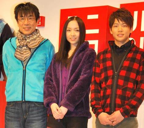 ユニクロのフリースの記者発表会に出席した(左から)イッセー尾形、宮本笑里、三浦皇成騎手 (C)ORICON DD inc.