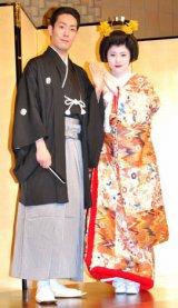 結婚式を終えた中村勘太郎と前田愛が、披露宴前に揃って記者会見を行った (C)ORICON DD inc.