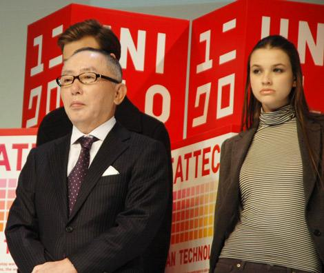 5日、都内で行われた「2009年ヒートテック説明会」に登壇したユニクロの柳井正社長 (C)ORICON DD inc.