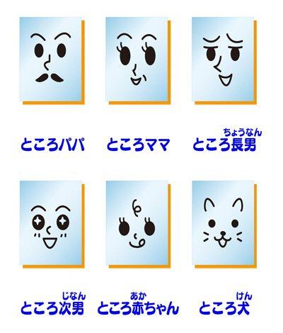 """ところてんの先端に描かれた""""ところ家族""""の表情  (C)BANDAI2009"""