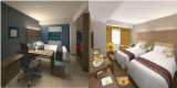 『ロッテシティホテル 錦糸町』の(左)ビジネス客にも対応した客室(右)「コアラのマーチくん」をあしらったファミリーツインルーム