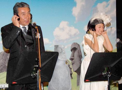 劇場版『ケロロ軍曹 誕生! 究極ケロロ 奇跡の時空島であります』のオープニング曲レコーディングを行った(左から)高田純次と松元環季 (C)ORICON DD inc.
