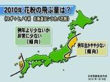日本気象協会が19日に発表した、「2010年春のスギ及びヒノキ花粉飛散予測」