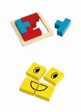 封入される木製おもちゃ(上)「つみきパズル」(下)「かおパズル」