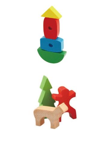 封入される木製おもちゃ(上)「つみきあそび」(下)「にんぎょうブロック」