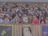 AKB48扮する女の子に可愛く質問され佐藤浩市がメロメロに・・・(左から)大島優子、小池徹平、佐藤浩市、篠田麻里子、小嶋陽菜/JRA新CM