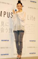 プロモーションキャラクターを務めるOLYMPUSの新CM発表会に出席した宮崎あおい (C)ORICON DD inc.