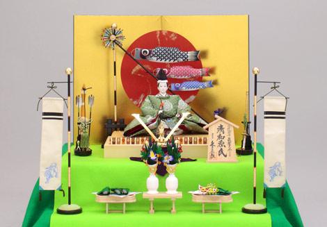 業界初となる人形が主役の毛せん二段飾り『端午飾』(清和源氏)