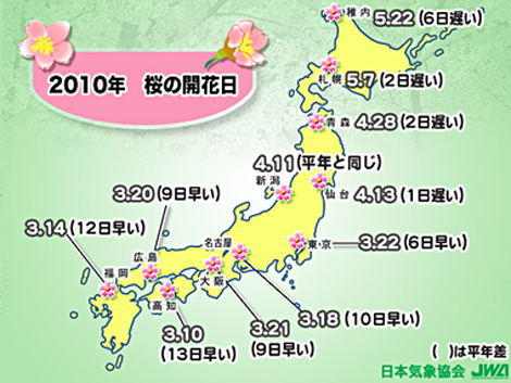2010年桜の開花日と平年差