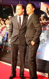 映画『インセプション』のジャパンプレミアに出席した渡辺謙(左)とレオナルド・ディカプリオ