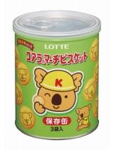 5年間の保存が可能なロッテの災害対策商品『コアラのマーチビスケット(保存缶)』