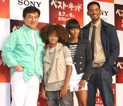 映画『ベスト・キッド』PRのために来日した(左から)ジャッキー・チェン、ジェイデン・スミス、ジェイダ・ビンケット・スミス、ウィル・スミス (C)ORICON DD inc.