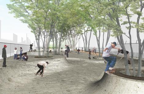 新設されるスケートボード場(2時間・ 一般200円、小中学生100円)