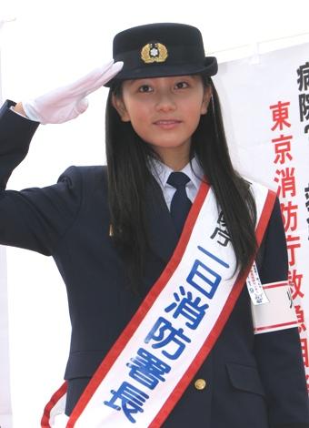 一日消防署長の工藤綾乃