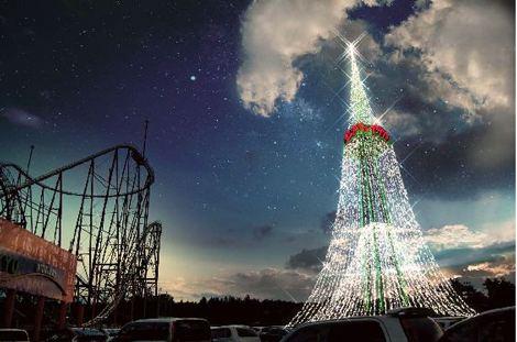 """高さ60m! 富士急ハイランドで12月10日から点灯する""""日本一のクリスマスツリー""""「フジヤマツリー」"""