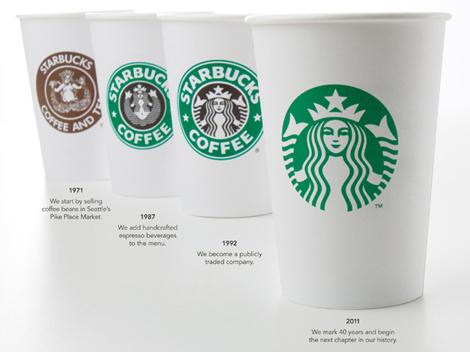 米スターバックス社のロゴ遍歴(左奥から1971年~、1985年~、1992年~、2011年~)