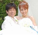 原口あきまさ&福下恵美夫妻に第1子となる男児が誕生 ※写真は、昨年4月の挙式時の模様 (C)ORICON DD inc.
