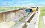「IKEA 福岡新宮」 外観と地中熱設備の導入イメージ図