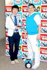 映画『きかんしゃトーマス ミスティアイランド レスキュー大作戦!!』公開記念イベントに登場したオードリー(左から若林正恭、春日俊彰)