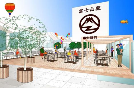 富士吉田駅の名称を変更し、7月より誕生する富士急行線『富士山駅』駅ビル屋上のイメージ
