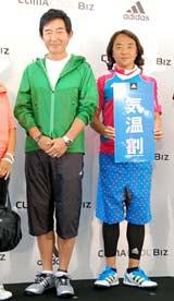 アディダスの『スポーツクールビズスタイル』発表記者会見に出席した(左から)石田純一、北澤豪