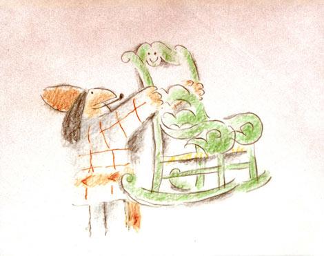 短編映画『クラック!』は、フレデリック・バックの長女、スーゼルのアイデアをもとに、一脚のロッキングチェアが辿る運命を通じて、失われつつあるケベックの伝統的な生活や文化、家族愛、自然への共感、現代文明批判などをユーモラスに描く。「トゥ・リアン」でのツヤ消しセルに色鉛筆で描く手法は、フレデリック・バックならではのものとして定着した。  (C) Societe Radio-Canada In partnership with the Atelier Frederic Back, Montreal.