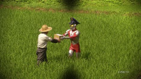 田んぼの中まで小包を届ける