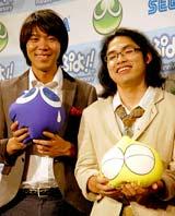 ニンテンドーDS用ソフト『ぷよぷよ!!』のCM完成披露会に出席したロッチ(左からコカドケンタロウ、中岡創一)