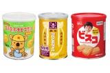 8月2日に発売される(左から)『コアラのマーチビスケット<保存缶>』(ロッテ)、『ミルクキャラメル缶』(森永製菓)、『ビスコ保存缶』(江崎グリコ)