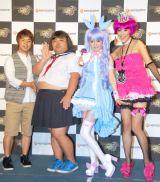 オンラインゲーム『Dragon Nest』の新キャラクター「ハロリ」の発表会に出席した(左から)響、モーニング娘。の道重さゆみ、岡本夏生 (C)ORICON DD inc.