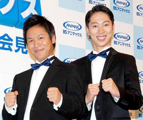 アニマックスのBS放送開始記念番組『アニメみるならアニマックス』制作発表会見に出席したはんにゃ(左から川島章良、金田哲) (C)ORICON DD inc.