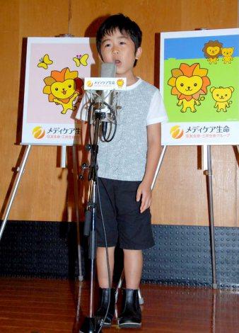 『メディケア生命』の新CMシリーズテーマソング「うまれたよ!」の公開レコーディングを行った鈴木福 (C)ORICON DD inc.