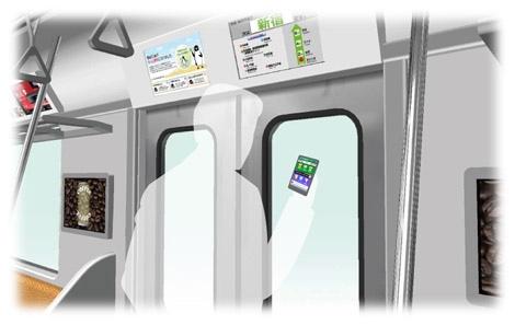 JR東日本が発表した山手線のスマートフォン向け情報提供サービスの車内でのイメージ