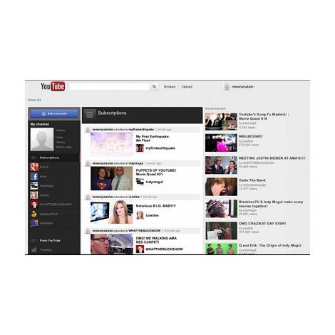 リニューアルされたYouTubeの新トップ画面