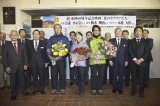 北海道・利尻島で行われた映画『北のカナリアたち』歓迎セレモニーの様子