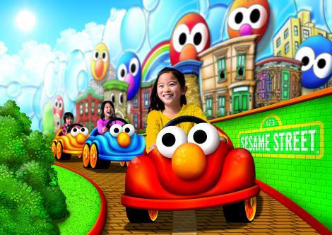 3月16日にオープンするUSJの「ユニバーサル・ワンダーランド」、セサミストリート・プラザのライド・アトラクション(3歳〜小学生未満大賞)「エルモのリトル・ドライブ」イメージ図
