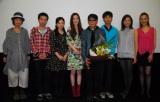 映画『RIVER』の初日舞台あさいつに登壇した蓮佛美沙子、廣木隆一監督(中央)とメインキャスト