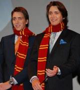 USJに『ハリー・ポッター』新エリアがオープン ウィーズリー家の双子の兄弟フレッドとジョージを演じたジェームズ(左)&オリバー(右)・フェルプス兄弟が来日して祝福 (C)ORICON DD inc.