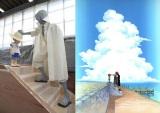 ルフィが冒険に旅立つ決意をするシャンクスとの大人気のシーン(右)を等身大キャラクターで再現(C)尾田栄一郎/集英社・フジテレビ・東映アニメーション