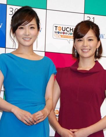 『TOUCH!WOWOW2012 いいね♪3チャンネルの日』記者会見に出席した(左から)高島彩アナ、中野美奈子アナ (C)ORICON DD inc.