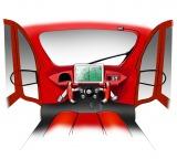 車両前方にはモーションセンサーでドライバーの動作や音声を認識する