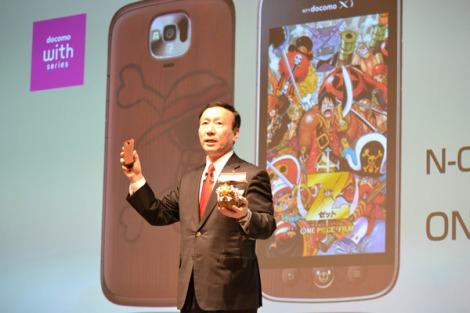 ドコモが人気漫画『ONE PIECE』とコラボしたスマートフォン『N-02E ONE PIECE』を発表(写真は発表会に出席した社長の加藤薫氏) (C)ORICON DD inc.